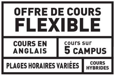 Les cours du baccalauréat en administration sont offerts sur 5 campus, plages horaires variées, format hybrides en anglais