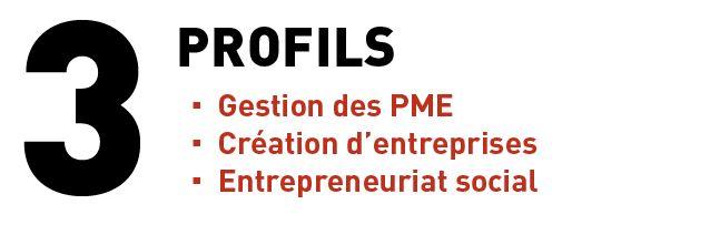 Le certificat en dynamiques entrepreneuriales propose 3 profils: gestion des PME, création d'entreprises, entrepreneuriat social