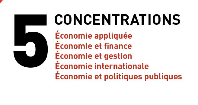 le baccalauréat en économique propose 5 concentrations