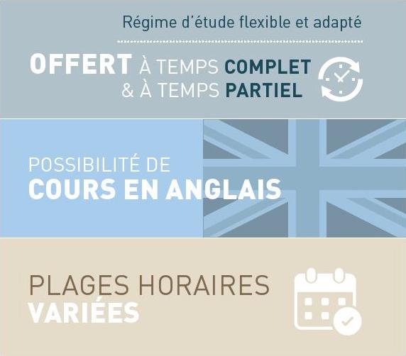 Le certificat en économique est offert à temps complet et partiel, possibilité de cours en anglais et les plages horaires sont variées.